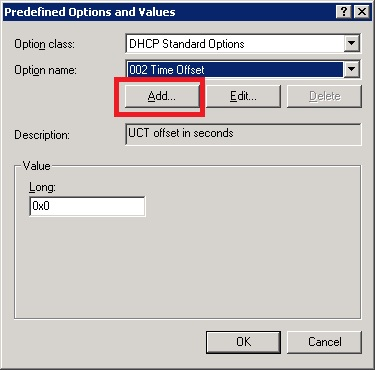DHCP add options